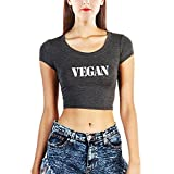 Loo Show Womens Vegetarian Vegan Workout Gym Crop Tops T Shirts