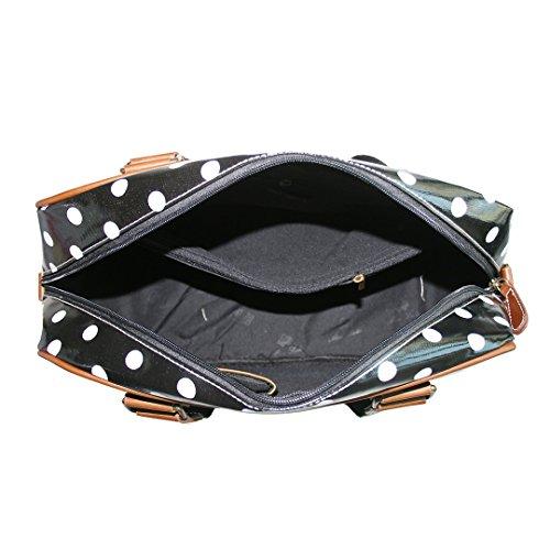 Miss Lulu Damen Wachstuch Handtasche Schultertasche Tasche Handbag Shoulder Bag Gepunktet Eule Blumen Schmetterling Hund Katzen Gepunktet Schwarz cvZcDAejnw