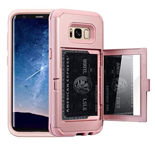 Galaxy S8 Case, NOKEA Wallet Case Card Slot Hidden Pocket Layered 3 in 1 Hard PC Case Silicone Shockproof Heavy Duty High Impact Armor Hard Case for Samsung Galaxy S8 (2017). (Rose Gold)