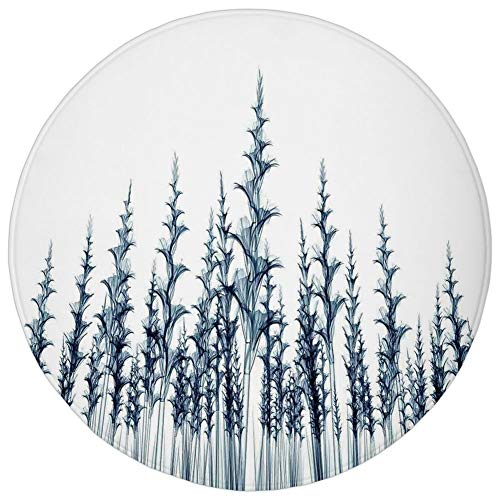 (Round Rug Mat Carpet,Xray Flower,X ray Picture of Forest Tall Trees Illustration of Nature Blueprint Decorative Art,Teal White,Flannel Microfiber Non-slip Soft Absorbent,for Kitchen Floor Bathroom)