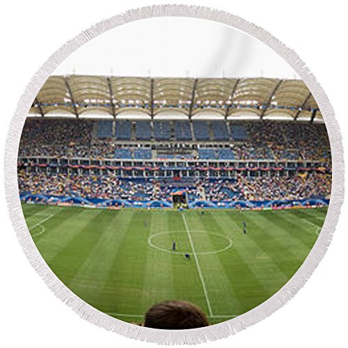 Pixels Round Beach Towel With Tassels featuring ''Crowd In A Stadium To Watch A Soccer'' by Pixels by Pixels