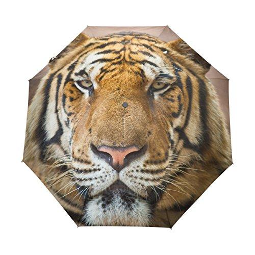 Tiger Pattern Print Lightweight UPF 50+ Anti-UV Parasol Waterproof Windproof 3 Folds Auto Open Close Umbrella - Tar Man Zombie Costume