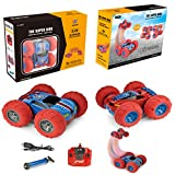 Remote Control Car-REALACC Double-Sided 360 Flip Stunt Cars - Rechargeable High Speed 1 18 Scale Toy Car with 2.4 GHz Transmitter Gift for Kids and Adults(Red&Blue)