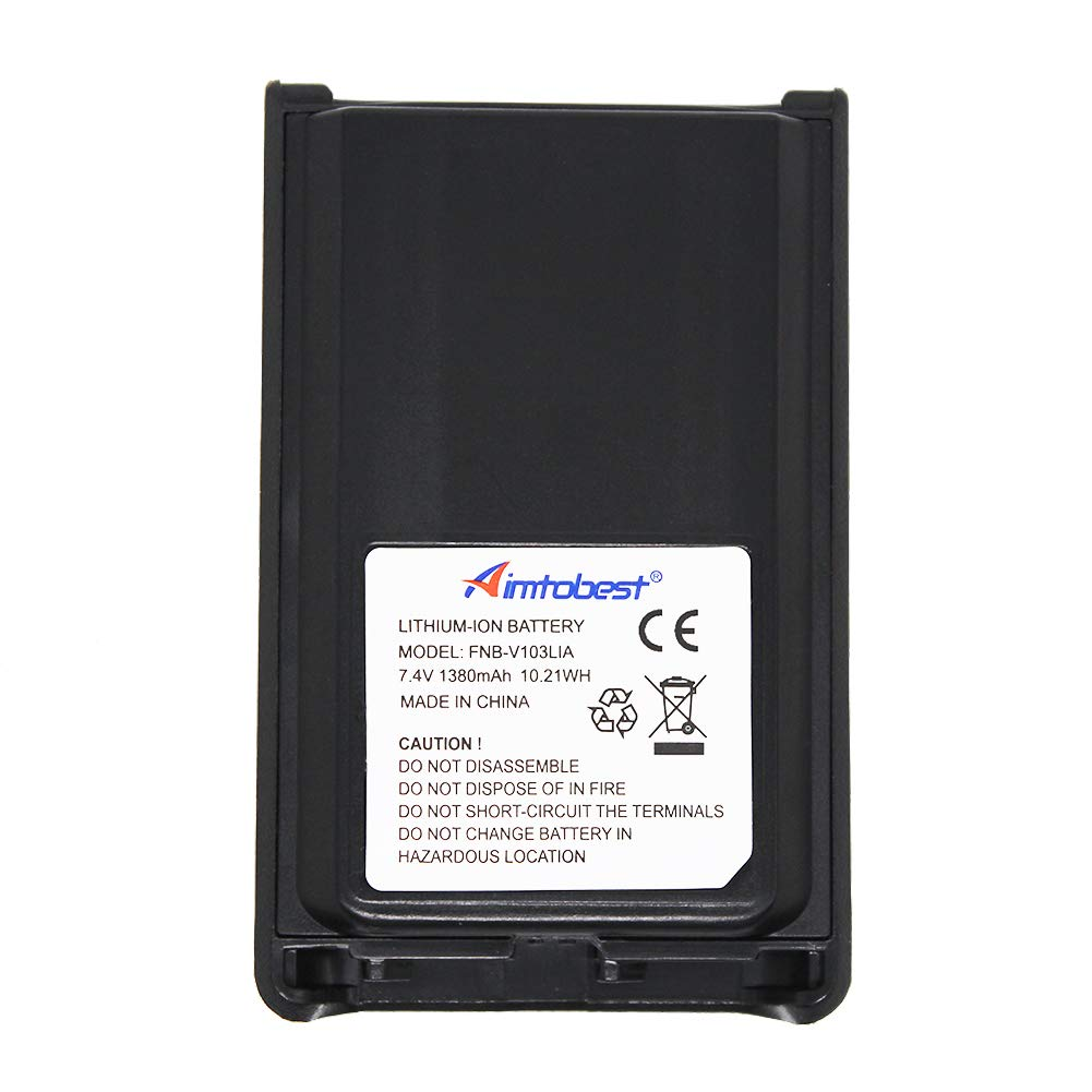 Aimtobest FNB-V103LIA 1380mAh Li-ion Battery Compatible for Vertex VX-231 VX231 VX-228 VX228 VX-230 VX230 VX-234 VX234 FNB-V103Li FNB-V103 (Fits for CD-34/VAC-300 Charger)