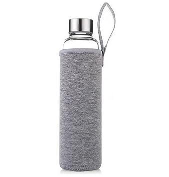 LAAT Botella de vidrio Botella deportiva Botella transparente con bolsa de nylon protectora Botella de agua de vidrio al aire libre (Azul, ...