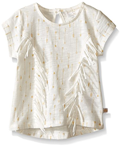 Rosie Pope Little Girls Foil Printed Slub Top with Fringe Detailing, Egret, 12 Months