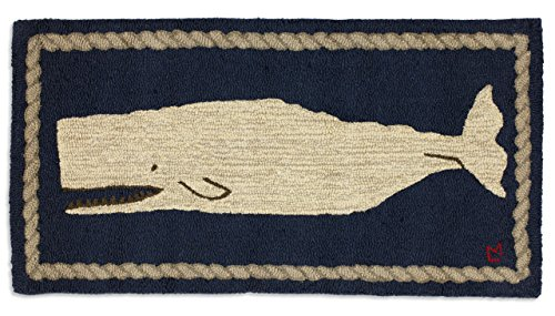 Beautiful Handmade Decorative Rug By Chandler 4 Corners Hand Hooked White Whale on Blue Rug 2