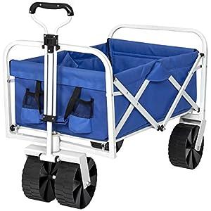 Wagon Garden Beach Cart W/ All-Terrain Wheels, Removable Cover- Blue