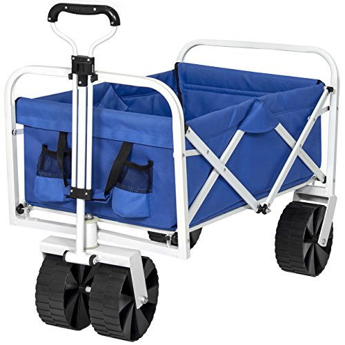 Best Choice Products Folding Utility Wagon Garden Beach Cart W/ All-Terrain Wheels, Removable Cover- Blue