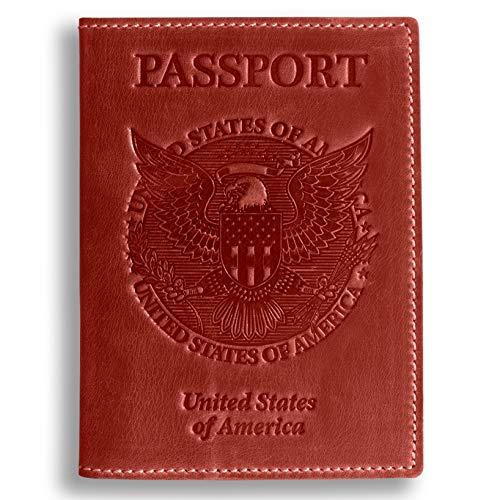 - Leather Passport Holder for Women & Men - US Passport Holder Cover Case - Vintage Genuine Leather (Red Vintage)
