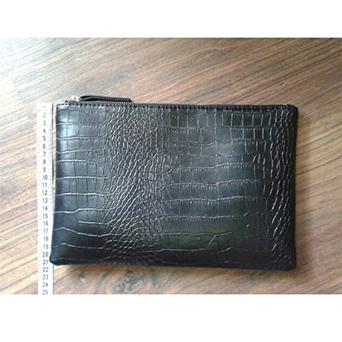 NIGEDU Women Clutches Crocodile Grain PU Leather Envelope Clutch Bag (Black) by NIGEDU (Image #9)