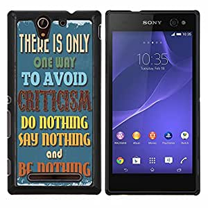 Dragon Case - FOR Sony Xperia C3 D2533 - it is nothing - Caja protectora de pl??stico duro de la cubierta Dise?¡Ào Slim Fit