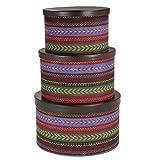 Household Essentials 3-Piece Hat Box Set with Faux Leather Lids, Southwest Aztec