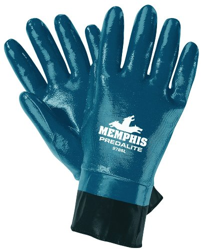 MCR Safety 9786L Predalite Nitrile Rubber Fully Coated Gloves with PVC Safety Cuffs, Smooth, Blue/White, Large, 1-Pair
