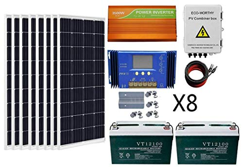 ECO-WORTHY 800 Watts Solar Panel Off Gird Kit 8pcs 100W Poly Solar Panel 200AH Battery 3.5KW Off Grid Inverter Combiner Box 16ft Solar Cable 60A Charge Controller Z Mounting Brackets