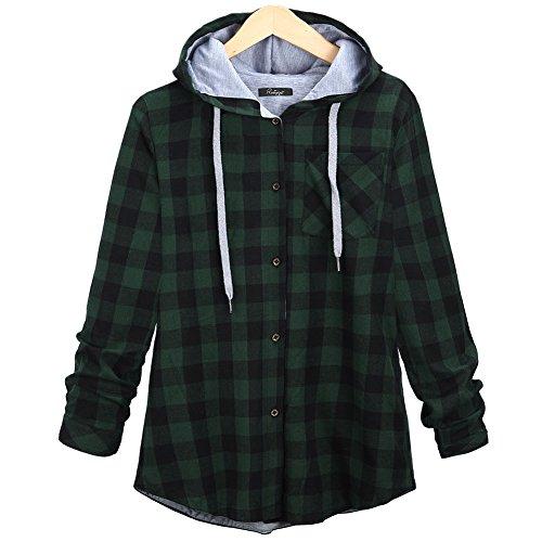 ダマン フード付きゆったり市松模様ボタン レジャー フード付きシャツ汗スリーブ シャツ ジャケット カーディガン生き抜く冬