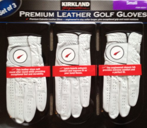 Kirkland Signature Premium Cabretta Leather Golf Gloves – Set of 3 Small