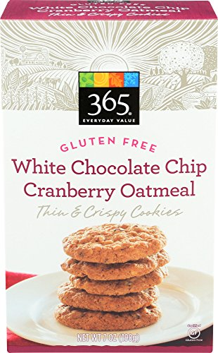 - 365 Everyday Value Thin & Crispy Cookies, Gluten Free, White Chocolate Chip Cranberry Oatmeal, 7 oz
