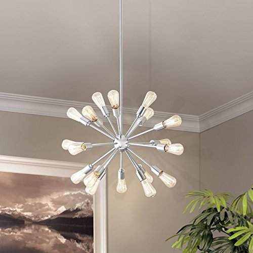 amazoncom grayford 18light starburst brushed nickel linear chandelier sputnik ceiling lamp art deco home u0026 kitchen - Starburst Chandelier