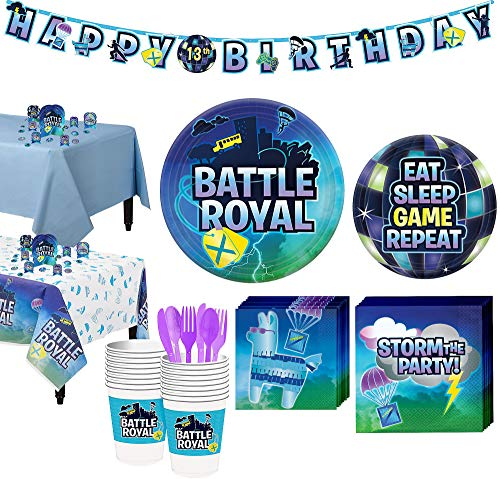 (Party City Battle Royal Tableware Supplies for 16 Guests, with Table Covers, Decorations and)