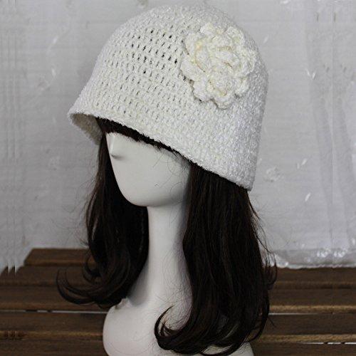 ZORJAR Handmade Wool Blend Winter Flower Fashion Chunky Knitted Crochet Bucket Hat