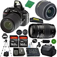 Nikon D5300 International Version - No Warranty, 18-55mm f/3.5-5.6 VR, Tamron 70-300mm DI LD Zoom, 2pcs 16GB ZeeTech Memory, Camera Case