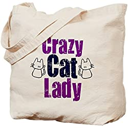 CafePress - Crazy Cat Lady - Natural Canvas Tote Bag, Cloth Shopping Bag
