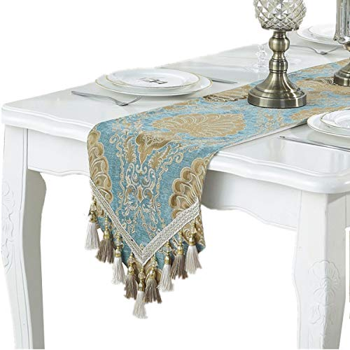 Bettery Home Modern Luxury Table Runner Jacquard Floral Dresser Scarves with Multi-Tassels, 13