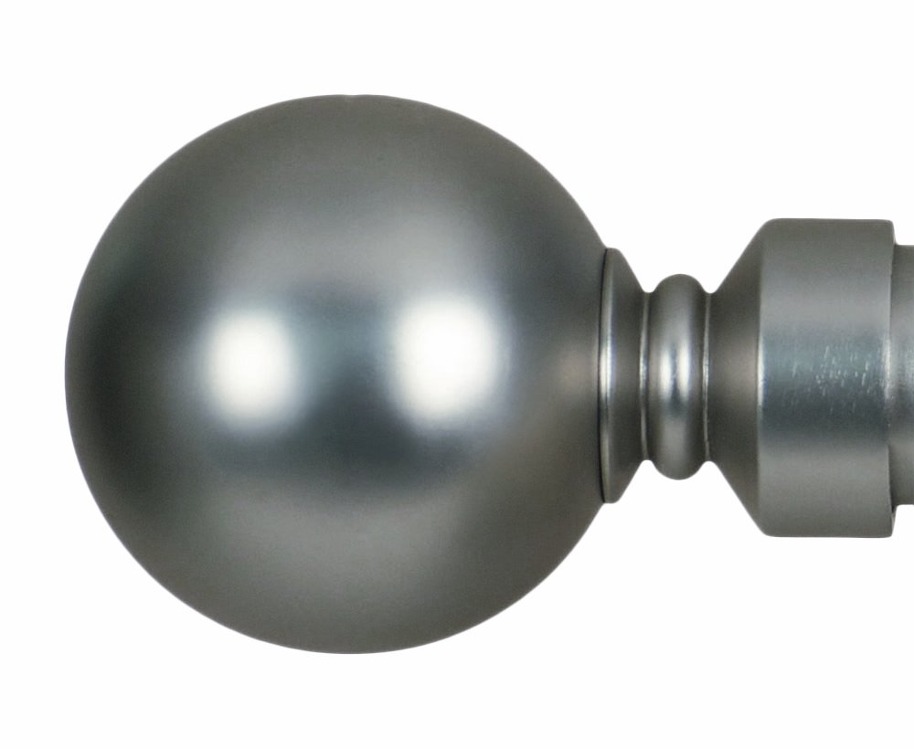 Home Décor Int'l Ball Finial for Window, Satin Nickel, Set of 2