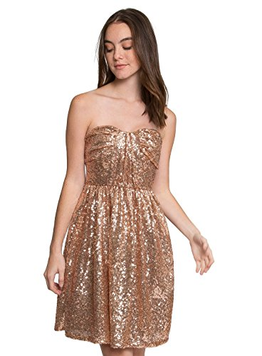 WET SEAL CHAMPAGNE STRAPLESS SEQUIN DRESS - LIGHT PINK - L ()
