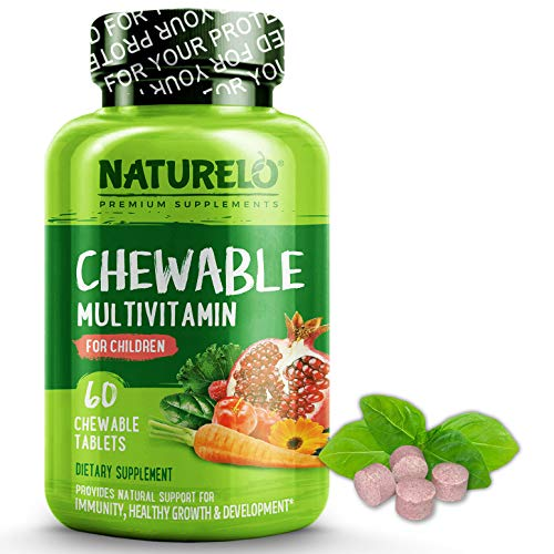 NATURELO Chewable Multivitamin for Children - with Natural Vitamins, Whole Food Minerals, Organic Fruit, Vegetable Extracts - Best Vegan, Vegetarian Supplement for Kids - 60 Tablets (Chewable Vegetable And Fruit)