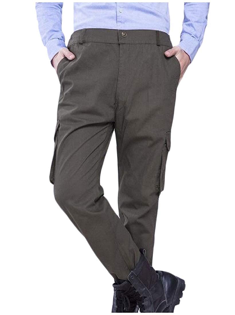 Abetteric Mens Multi-Pocket Rugged Wear Fall Casual Athletic Straight Cargo Pants