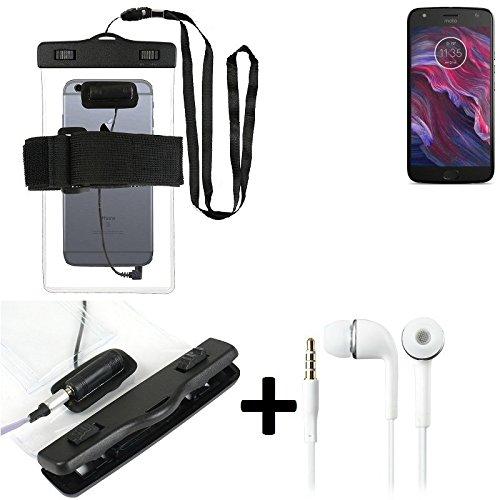 Estuche estanco al agua con entrada de auriculares para Motorola Moto X4 + auricular incluido, transparente   Trotar bolsa de playa al aire libre caja brazalete del teléfono caso de cáscara bajo playa