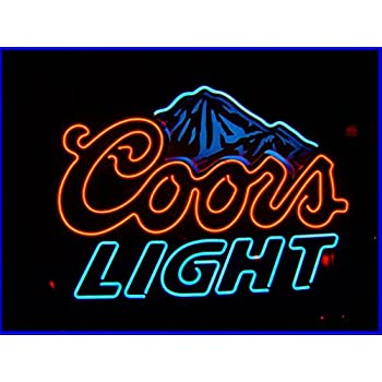 Coors light neon light bar sign blue lighted beer signs amazon blue coors light beer neon signs 17w x 14h mozeypictures Choice Image