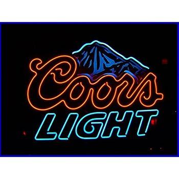 Coors light neon light bar sign blue lighted beer signs amazon blue coors light beer neon signs 17w x 14h aloadofball Choice Image