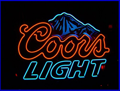 Blue Coors LIght Beer Neon Signs, 17(w) x 14(h) inch Neon Lights made with Real Glass Tube, Beautiful Decoration as Bar Signs Neon Beer