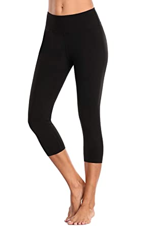 71f5fdf1fb Charmo Women High Waist Yoga Capris Compression Running Tights Cropped Gym  Pants: Amazon.co.uk: Clothing
