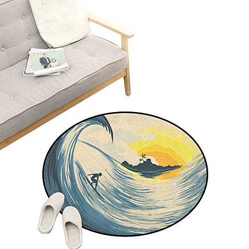 - Ocean Round Rug ,Illustration of Cloudy Sky Tropical Island Wave and Surfer at Sunset Seascape, Flannel Microfiber Non-Slip Soft Absorbent 39