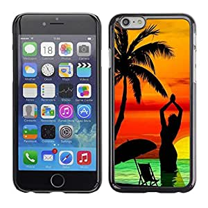 Design for Girls Plastic Cover Case FOR Apple Iphone 6 Plus 5.5 Palm Tree Beach Sunset Yoga Woman Sea OBBA
