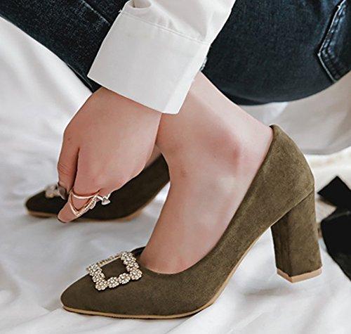 Aisun Womens Elegant Rhinestone Dressy Low Cut Chunky High Heel Pointed Toe Slip On Pumps Shoes Army Green lyae1zID6