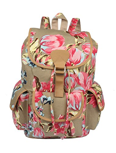 Crafts My Dream Women's Backpack Cotton Multi Printed Trims Leather Stylish and Trending High Quality Women's Backpack for College Office Bag Girls Handbag floral print (CMD 177)