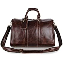 SUNVP Mens Leather Travel Duffel Bag Weekend Carry On Luggage Shoulder Bags