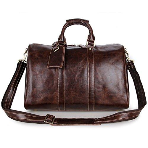 SUNVP Mens Genuine Leather Duffle Bag Brown Business Overnight Tote Crossbody Bag