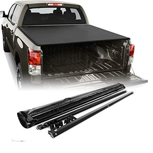 (Soft Roll Up Black Tonneau Cover Fits 2007-2018 Toyota Tundra Crew Max Cab 5.5 Feet 66 Inches Bed + Hardware Replacement)