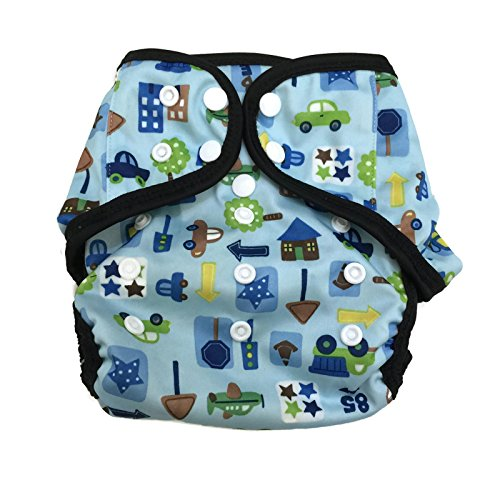 BB2 Baby One Size Printed Black Gussets Snaps Cloth Diaper Cover for Prefolds (One Size, City)
