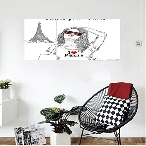 Liguo88 Custom canvas Fashion House Decor Kisses from Paris A Girl with Sunglasses Posing in fornt of Eiffel Tower Wall Hanging for Bedroom Living Room Red - And Sunglasses Ross Brown