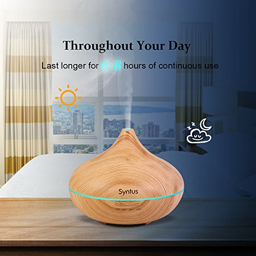 Syntus Essential Oil Diffuser, 300ml Aromatherapy Cool Mist Ultrasonic Aroma Diffusers with 7 Colorful LED Display, Timer Setting, Waterless Auto Shut off Function, Wood Grain