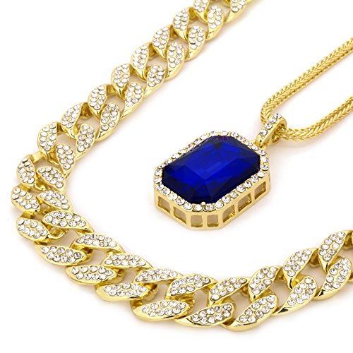 L & L Nation 14k Gold Plated Hip Hop Fully CZ 15mm Cuban Chain & Iced Blue Ruby w/ 3mm 24