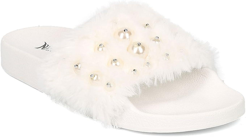 Alrisco Women Faux Fur Open Toe Faux Pearl Footbed Slide HB83