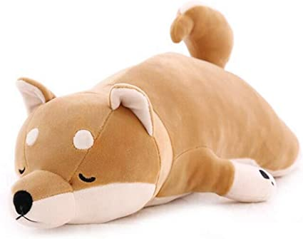 Shiba Inu Kid Hugging Plush Stuffed Animal Toy Sleeping Pillow Gift Brown Dog